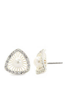 New Directions Silver-Tone Cubic Zirconia Starburst Button Boxed Earrings