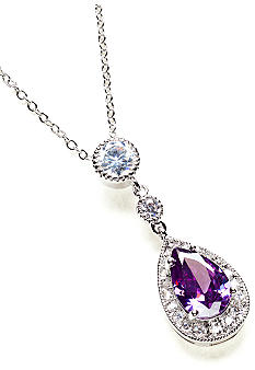 New Directions Pear Stone and Pave Amethyst Pendant