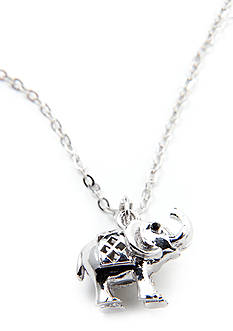 New Directions Trumpeting Elephant Pendant Necklace