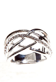 New Directions Criss Cross Crystal Pave Ring