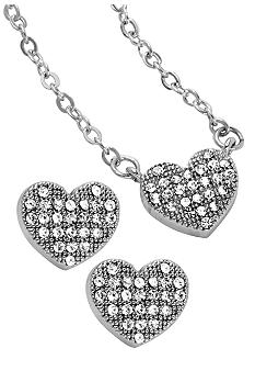 New Directions Heart Pendant and Earring Set