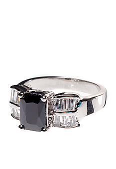 ND New Directions Jet and Clear Stone Ring