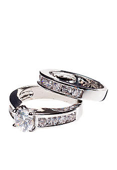 New Directions Round Stone Wedding Ring Set