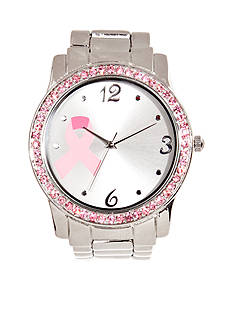 Kim Rogers Women's Silver-Tone Bracelet Breast Cancer Awareness Watch