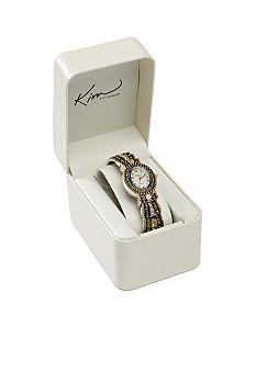 Kim Rogers® Women's Oval Two Tone Cuff Bangle Watch
