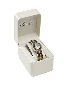 Kim Rogers Women's Oval Two-Tone Cuff Bangle Watch