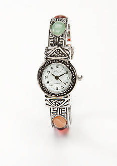Kim Rogers Women's Silver-Tone Cuff Bangle Watch