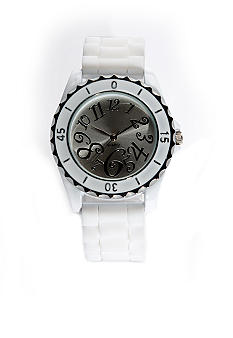 Kim Rogers Women's White Rubber Strap Watch