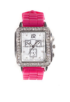 Kim Rogers Women's Square Tank Case Pomegranate Silicone Rubber Strap Watch