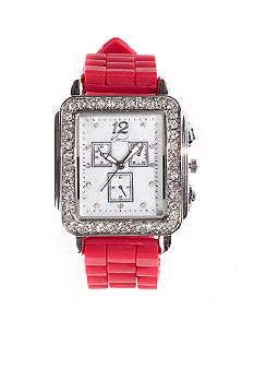 Kim Rogers Women's Square Tank Case Red Mercury Silicone Rubber Strap Watch