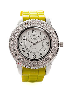 Kim Rogers Women's Round Analog Dial Lime Silicone Rubber Strap Watch