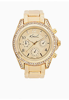 Kim Rogers Gold Watch with Cubic Zirconia Bezel Case