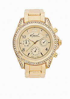 Kim Rogers Women's Gold Watch with Cubic Zirconia Bezel Case