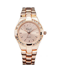 Kim Rogers Women's Round Rose Gold-Tone Analog Bracelet Watch