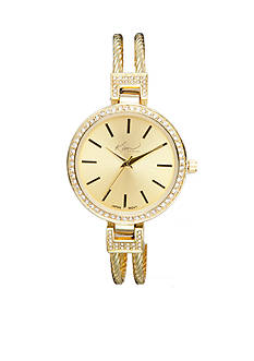 Kim Rogers Women's Round Gold-Tone Cuff Bangle Watch