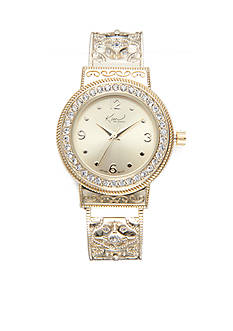 Kim Rogers Women's Round Gold-Tone Filigree Cuff Watch
