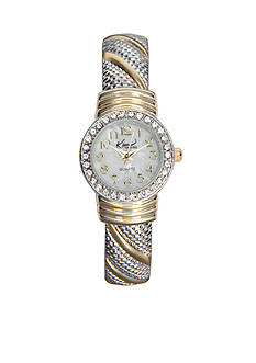 Kim Rogers Women's Round Two-Tone Cuff Bangle Watch