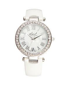 Kim Rogers Women's Round Silver-Tone White Strap Watch