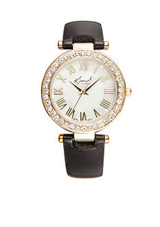 Kim Rogers Women's Round Gold-Tone Black Strap Watch