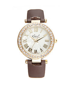 Kim Rogers Women's Round Gold-Tone Luggage Strap Watch