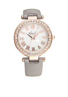 Kim Rogers Women's Round Rose Gold-Tone Gray Strap Watch