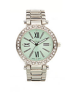 Kim Rogers Silver-Tone Mint Dial Watch