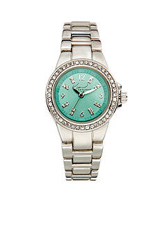 Kim Rogers Silver-Tone Blue Dial Watch