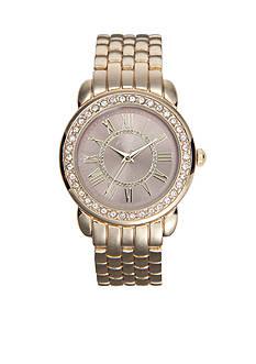 Kim Rogers Women's Round Gold-Tone Glitz Bracelet Watch