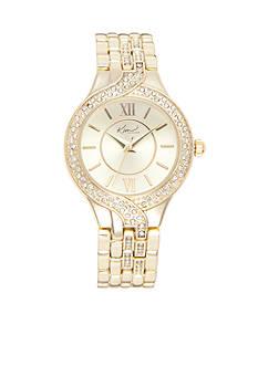 Kim Rogers Women's Round Gold-Tone Bracelet Watch