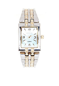 Kim Rogers Two Tone Rectangular Link Watch