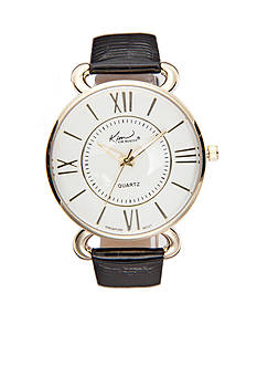 Kim Rogers Women's Shiny Crocco Leather Strap Watch