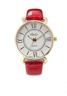 Kim Rogers® Shiny Crocco Leather Strap Watch