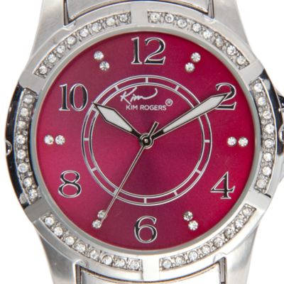 St. Patricks Day Womens Clothing: Magenta Kim Rogers Metal Link Colored Dial