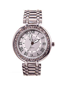Kim Rogers® Silver Link Watch with Stones