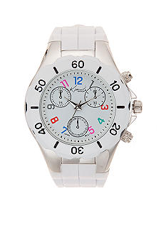 Kim Rogers White Rubber Watch with Colored Numbers