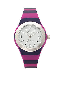 Kim Rogers Women's Pink and Navy Stripe Silicone Watch