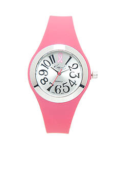 Kim Rogers Women's Breast Cancer Awareness Pink Silicone Watch
