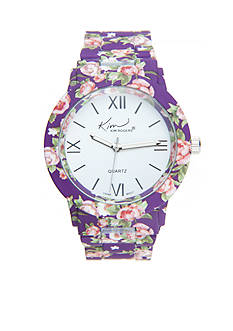 Kim Rogers Women's Purple Floral Enamel Watch