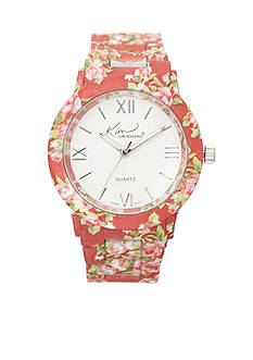 Kim Rogers Women's Red Floral Enamel Watch
