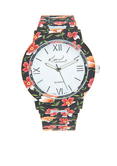 Kim Rogers Women's Black Floral Enamel Watch