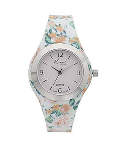 Kim Rogers Women's White Floral Silicone Strap Watch