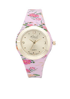 Kim Rogers Women's Pink Floral Silicone Strap Watch