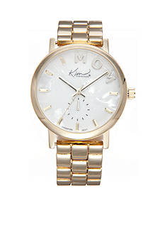 Kim Rogers Women's Gold-Tone Mother of Pearl Dial 'Mom' Watch