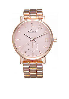 Kim Rogers Women's Rose Gold-Tone Pink Dial 'Love' Watch
