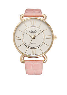 Kim Rogers Women's Pink Crocco Strap Watch