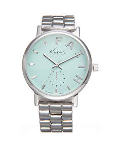 Kim Rogers Women's Silver-Tone Mint Green Dial 'Faith' Watch