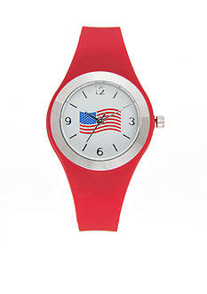 Kim Rogers Women's Red Silicone Strap with American Flag Dial Watch