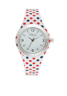 Kim Rogers Women's Red & Blue Polka Dot Silicone Strap Watch