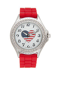 Kim Rogers Women's Red Silicone Strap with Heart Dial Watch