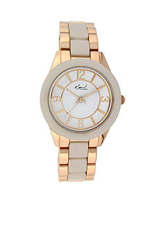 Kim Rogers Women's Rose Gold-Tone and White Enamel Watch